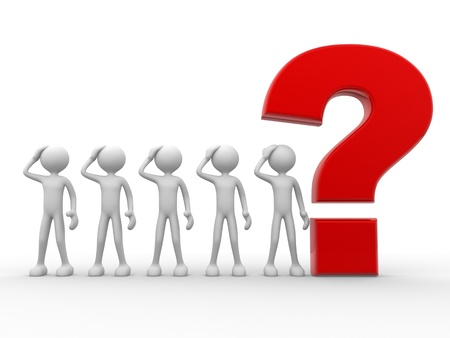 fellows: 3d people - man, person with a big question mark  Stock Photo