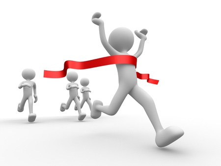 finishing line: 3d people - man, person crossing the finishing line. Winner Stock Photo