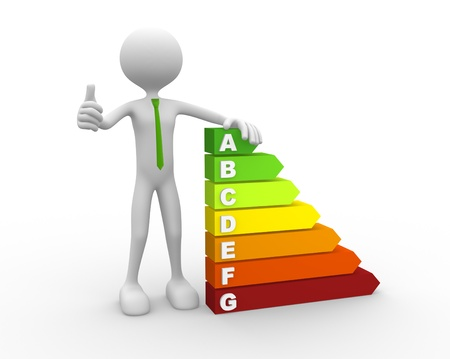 energy ranking: 3d people - man, person and energy chart with clipping path  Stock Photo