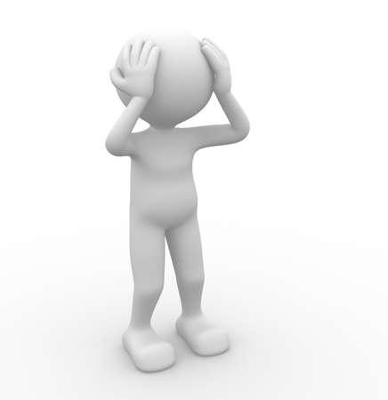 desperate: 3d gente - hombre, persona - el dolor, preocupados. Sad. Concepto de estrés, depresión. Foto de archivo