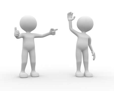 workmate: 3d people - man, person praises his workmate.