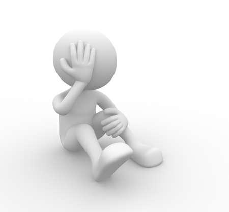 emotional pain: 3d people - man, person - sad.