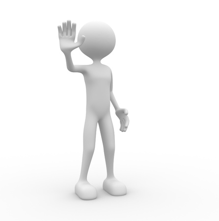 outstretched:  3d people - man, person with outstretched hand STOP sign