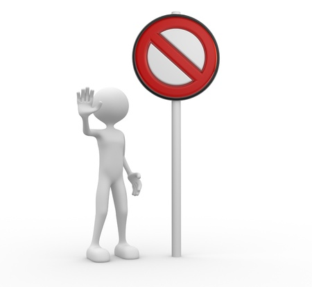 banned: 3d people - man, people with a stop sign