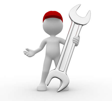 3d people - man, person with a wrench. Stock Photo - 20569225