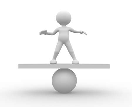 counterbalance: 3d people - man, person in equilibrium on a ball. Stock Photo