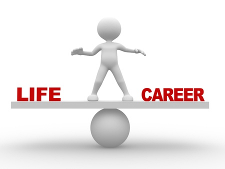 life balance: 3d people - man,  person - concept of balance in life and career