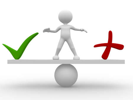 yes or no: 3d people - man,  person standing on a seesaw between a check mark and a cross. Yes or no