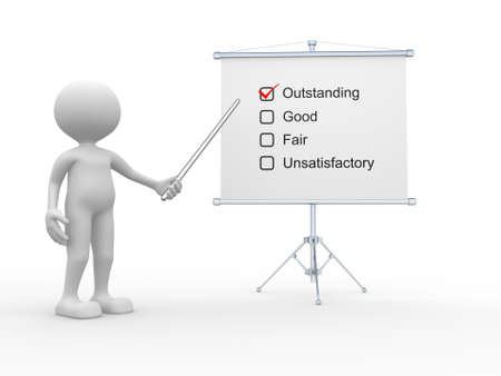 outstanding: 3d people - man, person with a business board. Outstanding, good, fair, unsatisfactory