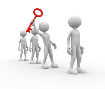 ged: 3d people - man, person with a red key. Key to success