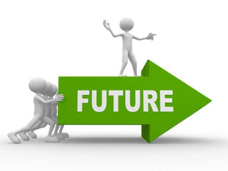 new direction: 3d people - man, person with a arrow and word FUTURE  Stock Photo