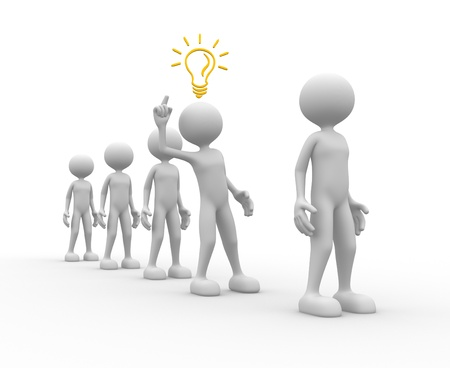 fellows: 3d people - man, person and a light bulb. Concept of idea