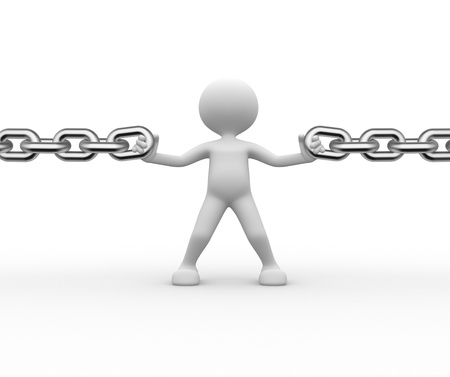 chain link: 3d people - man, person and a chain