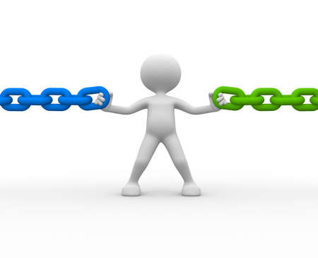 responsabilidad: 3d gente - hombre, persona y una cadena Foto de archivo