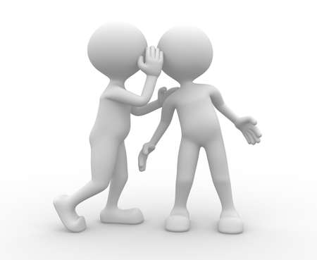 telling: 3d people - man, person whispering in his ear to another person.