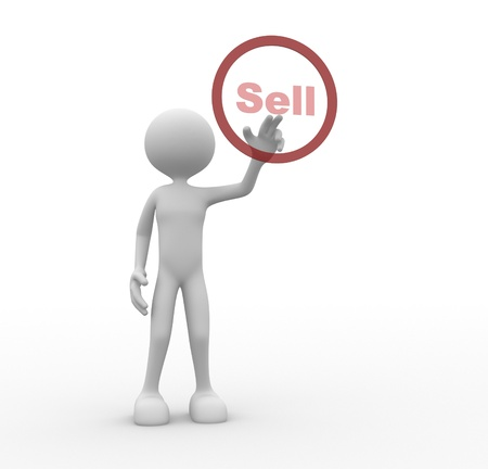 retailers: 3d people - man, person pressing a button   Sell. Stock Photo