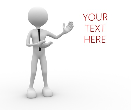 your text here: 3d people - man, person presenting - pointing your text here.