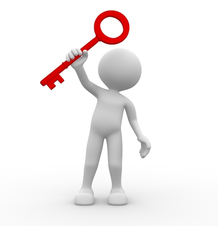 key to success: 3D man holding a red key