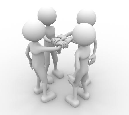 uniting: 3d people holding hands together