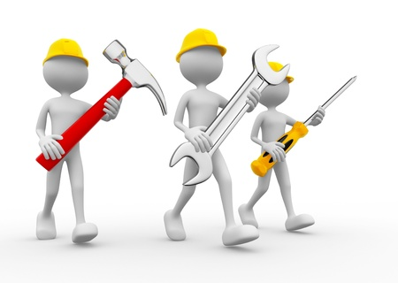 Three people with the tools in the hands photo