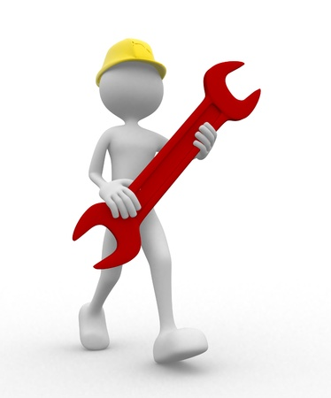 hardware tools: 3d worker with wrench - render Stock Photo