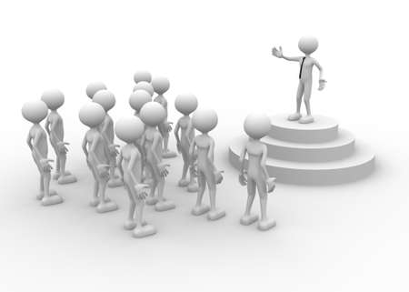 leaders: 3d people - man, person speaking in front of crowds