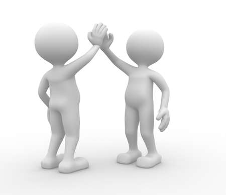 two people meeting: 3d people - man, person. Give me five Stock Photo