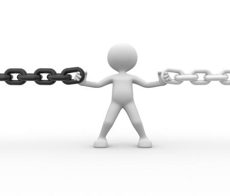 la union hace la fuerza: 3d gente - hombre, persona con una cadena Foto de archivo