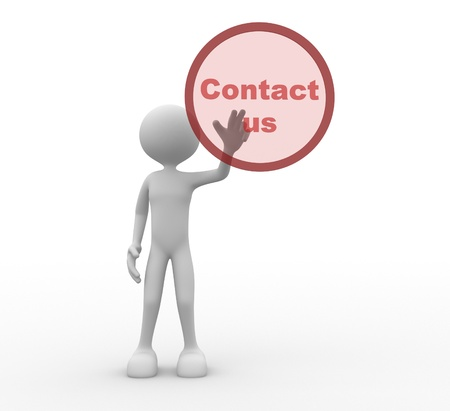 contactus: 3d people - man, person pressing a button contact us