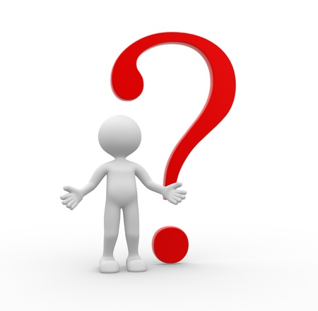fellow: 3d people - man, person with a big question mark  Stock Photo