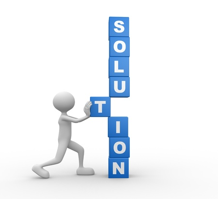 building blocks business: 3d people - man, person with cubes and word SOLUTION. Solution concept Stock Photo