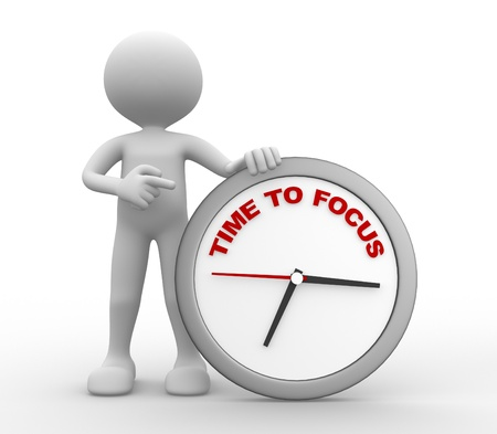 focus: 3d people - man, person with a clock. Time To Focus concept.