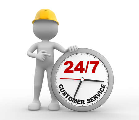 3d people - man, person a clock. Customer service 247