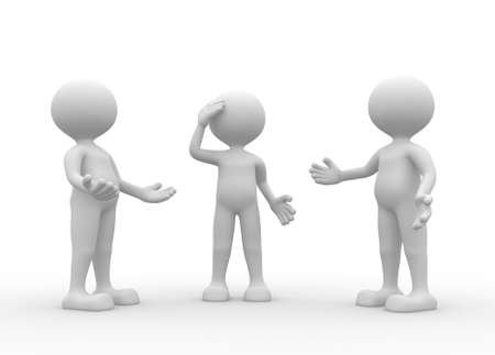 pessimistic: 3d people - men, person talking in group  Stock Photo