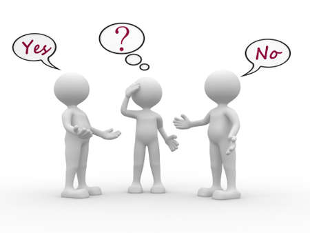indecisive: 3d people - men, person with speech bubbles and text yes and no. Confused Stock Photo