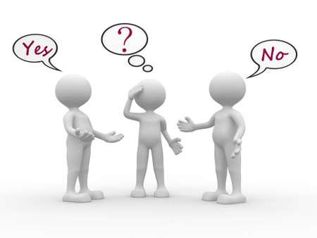 persona confundida: 3d personas - hombres, personas con las burbujas del discurso y el texto sí y no. Confundido