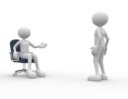 speach: 3d people - men, person talking. Employee and employer