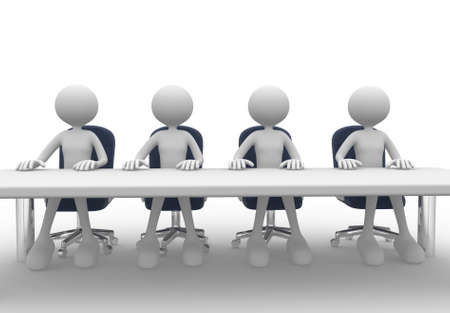 round table conference: 3d people - men, person at conference table. Meeting.