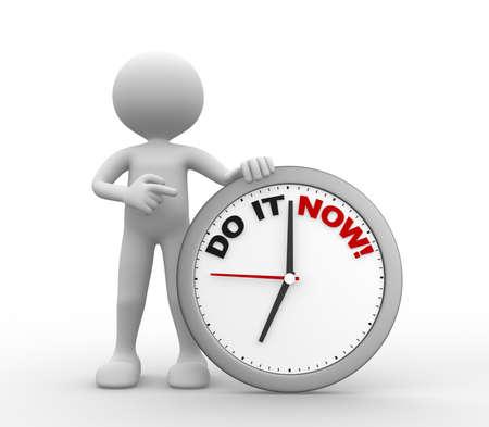 """entendre: 3d les gens - homme, personne avec une horloge et le texte """"le faire maintenant"""""""