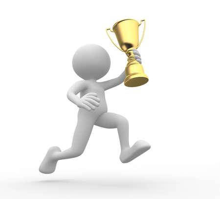 trofeo: 3d gente - hombre, persona que sostienen el trofeo de oro