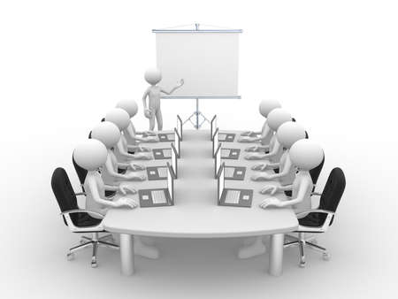3d people - men, person at conference table and a flipchart .