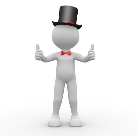 two thumbs up: 3d people - man, person showing thumbs up. Ok. Gentelman