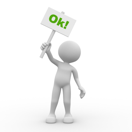 3d people - man, person with a ok sign in hands.  Stock Photo