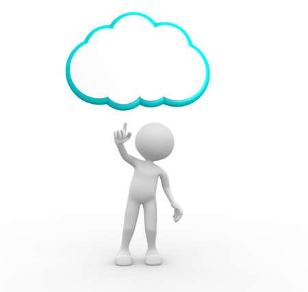 cartoon clouds: 3d gente - hombre, persona y tablero en blanco