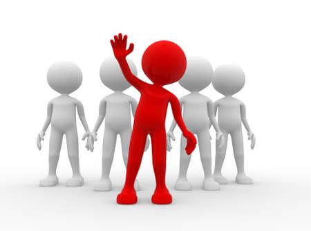 follow the leader: 3d mensen - een man, persoon in de groep. Leiderschap