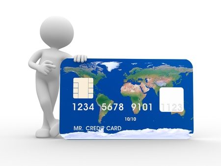 visa credit card: 3d people - man, person with a credit card Stock Photo