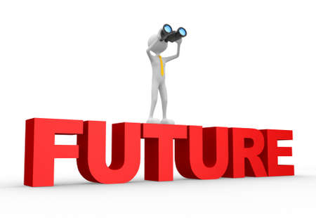 3d people - man, person with a binocular and word FUTURE. Future concept. Stock Photo - 20884733