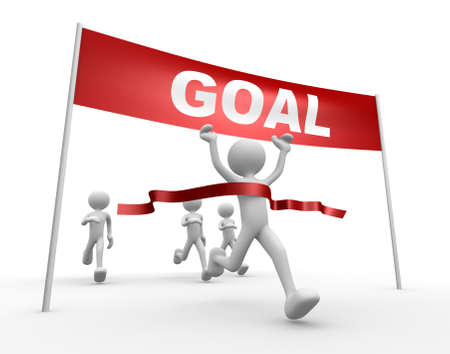 achieve goal: 3d people - man, person and finish line. Goal