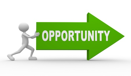 opportunity sign: 3d people - man, person with arrow and word opportunity
