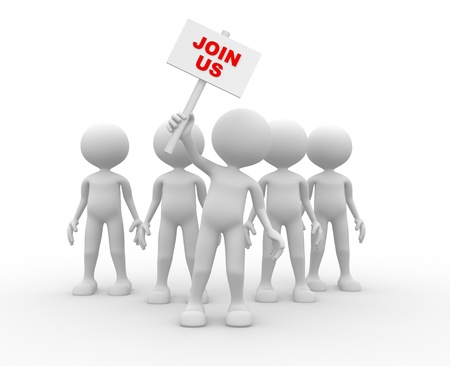 3d people - man, person - group leader with banner. Join us